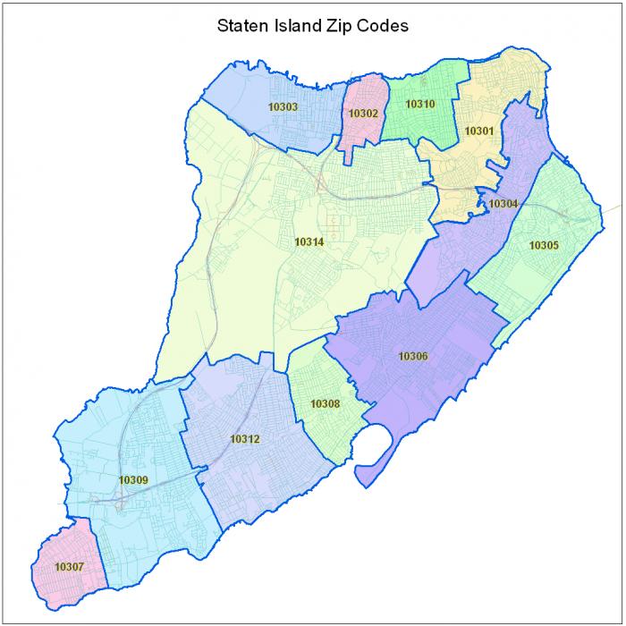 Staten Island Zip Code Map   World Map